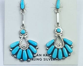 Native American Zuni handmade Sterling Silver Sleeping Beauty Turquoise post earrings