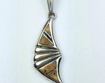 Native American Navajo handmade Sterling Silver multi-stone inlay pendant by Calvin Begay