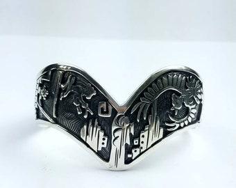 Native American Navajo handmade Sterling Silver Story Teller bracelet