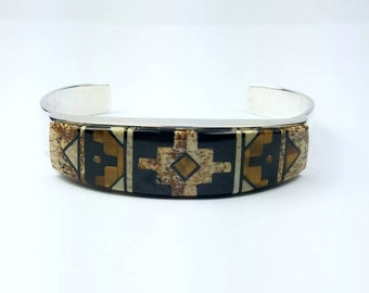 Native American Navajo handmade Sterling Silver inlay multi-stone cuff bracelet by Calvin Begay