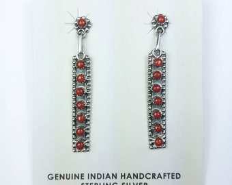 Native American Zuni handmade Sterling Silver Mediterranean Coral petit point stud earrings