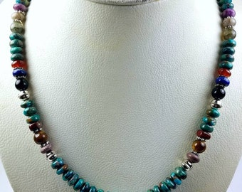 Native American Navajo handmade Sterling Silver Turquoise Onyx Lapis Tiger Eye Charoite stone bead necklace by Tommy and Rosita Singer