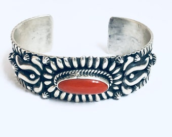 Native American Navajo Handmade Sterling Silver and Coral Bracelet