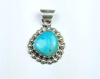 Native American Navajo handmade Sterling Silver genuine Turquoise pendant