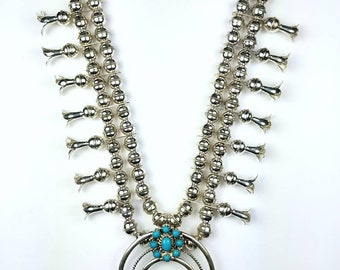 Native American Navajo handmade Sterling Silver Turquoise Squash Blossom necklace set