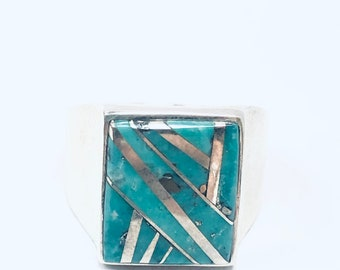 Native American Navajo handmade sterling silver turquoise inlay men's/women's ring