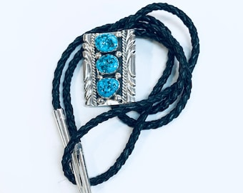 Native American Navajo handmade sterling silver turquoise men's/women's bolo tie