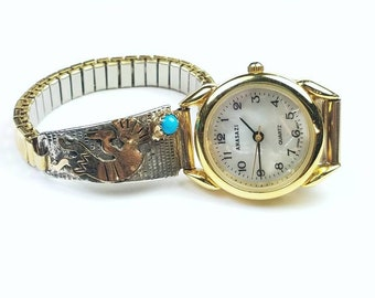 Native American Navajo handmade Sterling Silver 12k Gold fill Turquoise stone Kokopelli watch