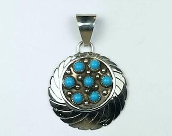 Native American Navajo handmade Sterling Silver Turquoise pendant