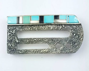 Native American Navajo handmade Sterling Silver inlay Turquoise Onyx stone belt buckle