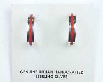 Native American Zuni handmade Sterling Silver inlay Coral half hoop stone earrings