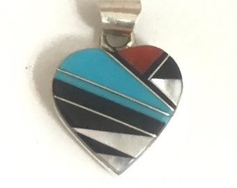 Native American Zuni Handmade Sterling Silver Turquoise Multi Stone Inlay Heart Pendant