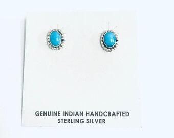 Native American Navajo handmade sterling silver stud earrings set with Sleeping Beauty Turquoise stones