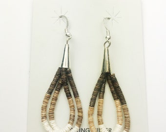Native American Navajo Handmade Sterling Silver Pin Shell Earrings