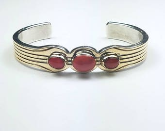 Native American Navajo handmade heavy gauge Sterling Silver thin sheet 14k Gold overlay Coral cuff bracelet