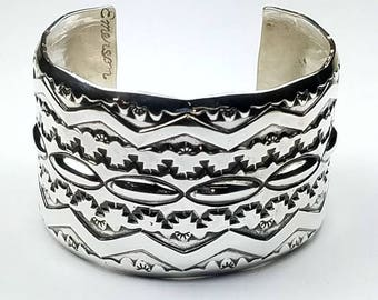Native American Navajo handmade Sterling Silver cuff bracelet by Emerson Bill