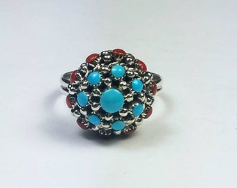 Native American Zuni handmade Sterling Silver petit point Turquoise and Coral ring
