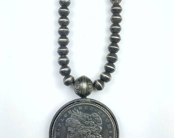 Vintage Native American Navajo handmade Sterling Silver beaded coin necklace
