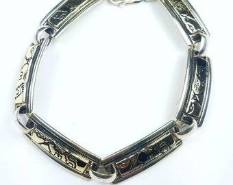Native American Navajo handmade Sterling Silver 14k Gold overlay deer link bracelet
