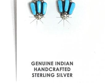 Native American Zuni Handmade Sterling Silver Turquoise Inlay Stud Earrings