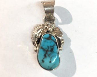 Native American Navajo handmade Sterling Silver with Kingman Turquoise pendant
