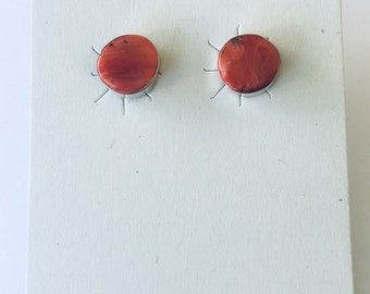 Native American Navajo handmade sterling silver and spiny oyster shell stud earrings