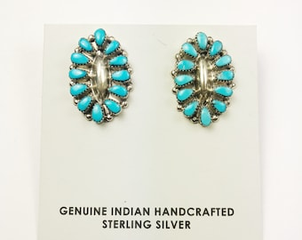 Native American Navajo Handmade Sterling Silver Kingman Earrings