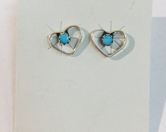 Native American Navajo handmade sterling silver and Sleeping Beauty Turquoise stud heart earrings