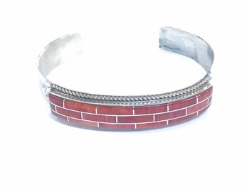 Native American stunning contemporary Zuni handmade sterling silver cuff bracelet inlaid with Coral