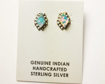 Native American Navajo Handmade Sterling Silver Opal Earrings