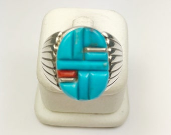 Native American Navajo Handmade Sterling Silver Kingman, Turquoise, Coral Ring