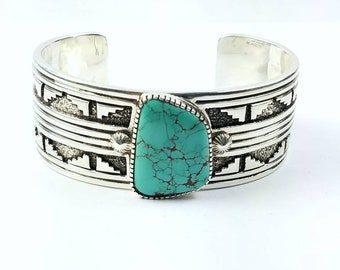 Native American Navajo handmade Sterling Silver Nevada Turquoise cuff bracelet