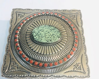 Sunshine Reeves Sterling Silver Turquoise and Mediterranean coral Jelwery Box