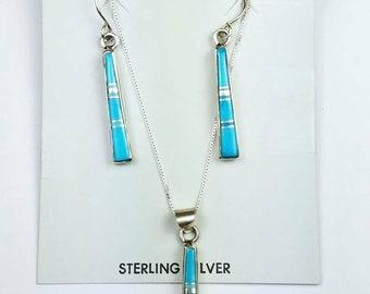 Native American Navajo handmade Sterling Silver inlay Sleeping Beauty Turquoise stone earring pendant set