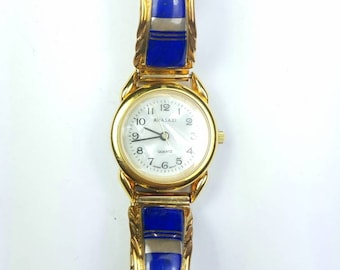 1980's Native American Navajo handmade Sterling Silver 12k Gold filled inlay Lapis stone watch