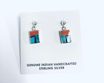 Native American Navajo handmade sterling silver dangle earrings inlaid with multi colored stones and shell