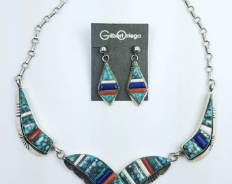 Native American Navajo handmade Sterling Silver multi-stone cobble stone inlay necklace set
