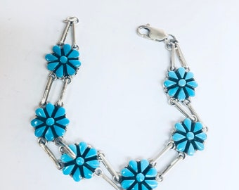 Native American Zuni  handmade Sterling Silver Sleeping Beauty Turquoise link