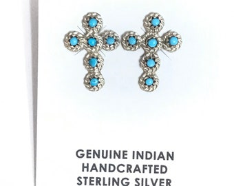Native American Zuni Handmade Sterling Silver Turquoise Petit Point Stud Earrings