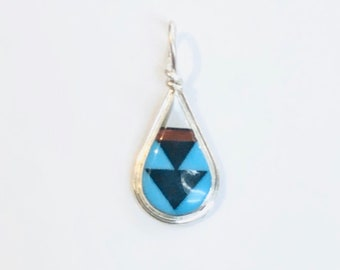 Native American Zuni handmade sterling silver multicolored inlay pendent