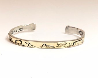 Native American Handmade Navajo Sterling Silver with 14kt Gold overlay Cuff Bracelet