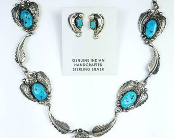 Native American Navajo handmade Sterling Silver and genuine Turquoise necklace set