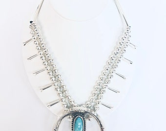 Native American Navajo handmade Sterling Silver genuine Turquoise Squash Blossom necklace