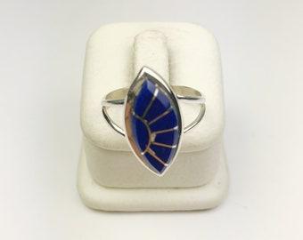 Native American Navajo Handmade Sterling Silver Lapiz Navajo Inlay Ring