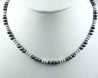 Native American Sterling Silver Navajo Pearl Opal stone beaded necklace
