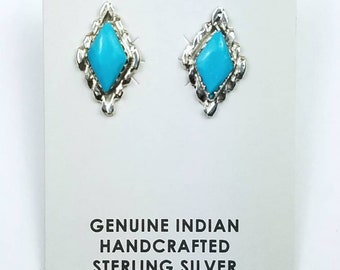 Native American Zuni handmade Sterling Silver inlay Turquoise stone stud earrings