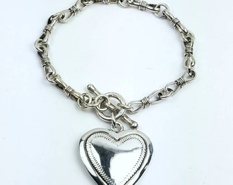 Native American Navajo handmade Sterling Silver Lapis link bracelet