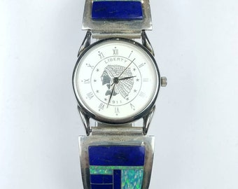 Native American Navajo handmade Sterling Silver inlay Lapis Opal stone watch