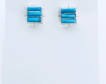 Native American Zuni handmade sterling silver and turquoise inlay earrings