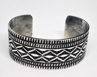 Antiqued Finish Native American Navajo Handmade Sterling Silver Cuff Bracelet
